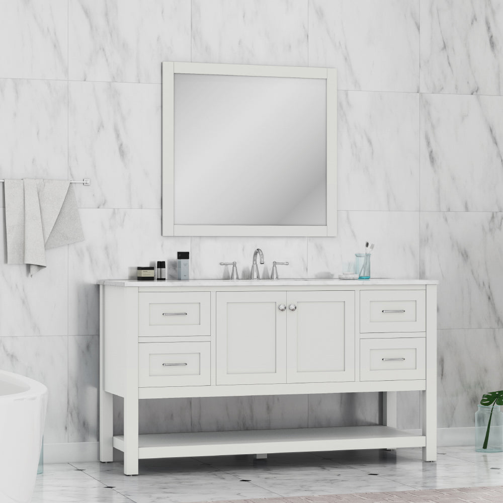 Wilmington 60 inch Single Vanity White with Carrera Marble Top