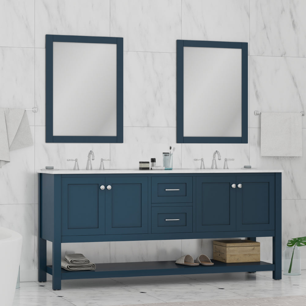 Wilmington 72 inch Double Vanity in Blue with Carrera Marble Top