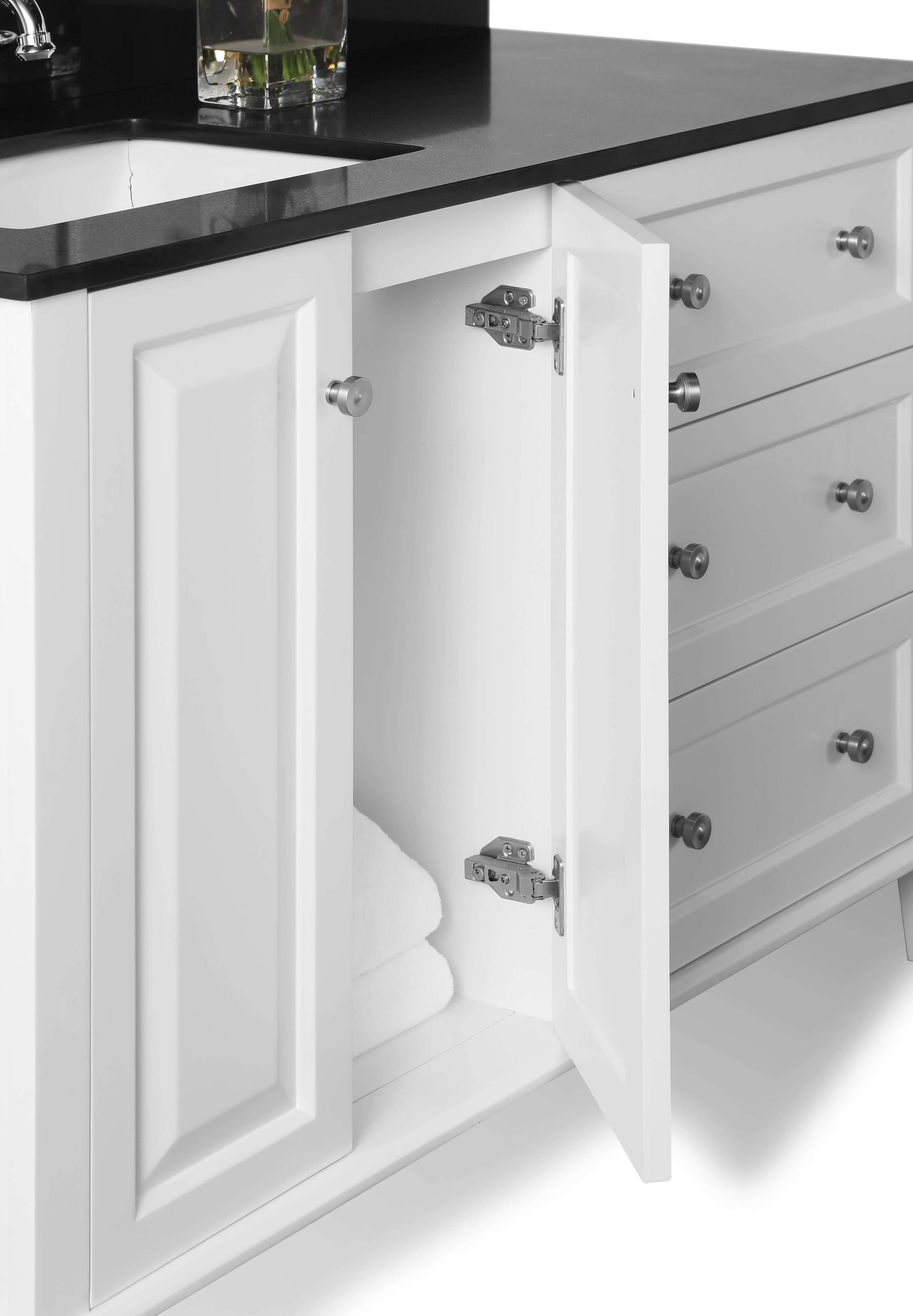 Hannah 48 in. Off Centered Left Bath Vanity Set in White