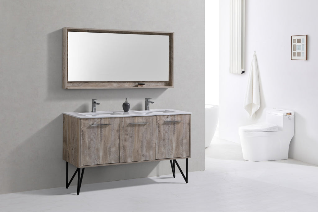 "Bosco 60"" Double Sink Modern Bathroom Vanity w/ Quartz Countertop and Matching Mirror"