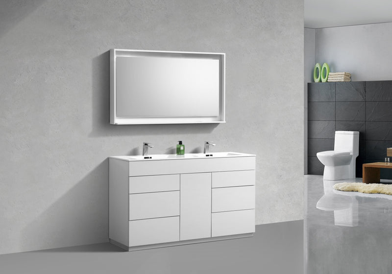 "Milano 60"" Double Sink High Glossy White  Modern Bathroom Vanity"