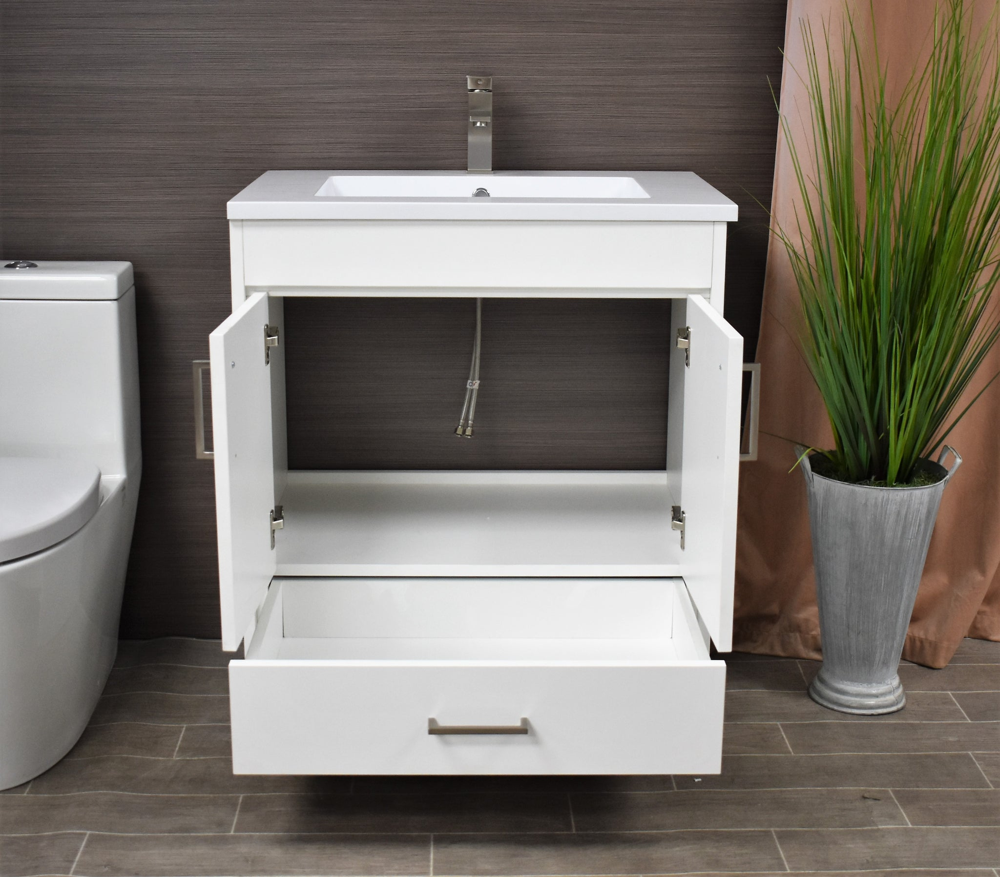 "Rio 24"" Modern Bathroom Vanity in White with Acrylic Top and Brushed Nickel Handles"