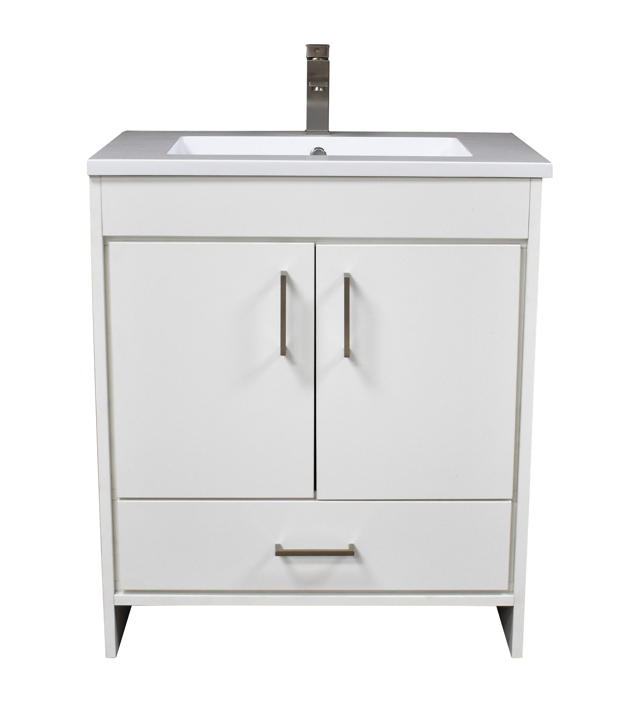 "Rio 30"" Modern Bathroom Vanity in White with Acrylic Top and Brushed Nickel Handles"