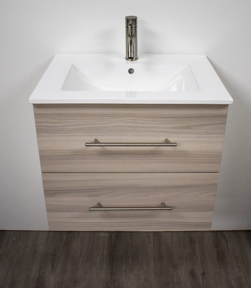 "Napa 24"" Modern Wall-Mounted Floating Bathroom Vanity with Ceramic Top and Round Handles in Ash Grey"