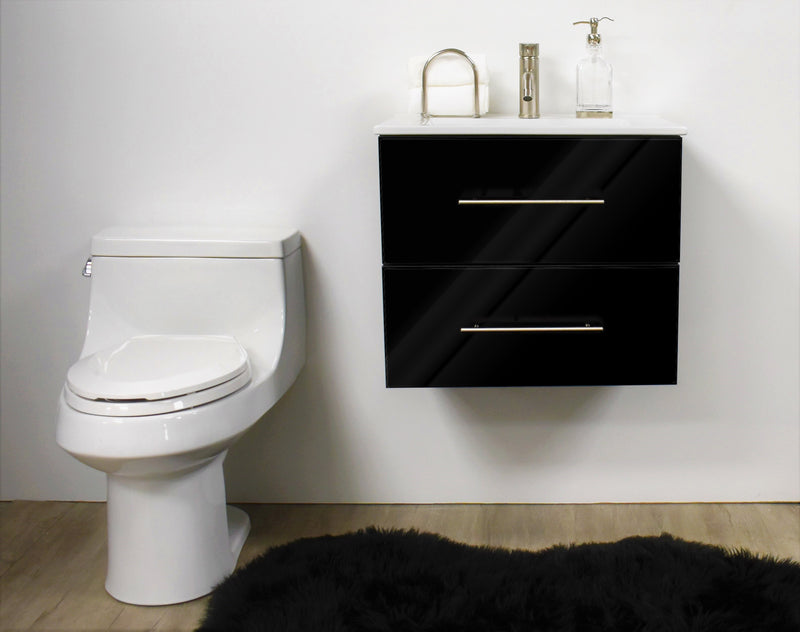 "Napa 24"" Modern Wall-Mounted Floating Bathroom Vanity in Glossy Black with Ceramic Top and Round Handles"