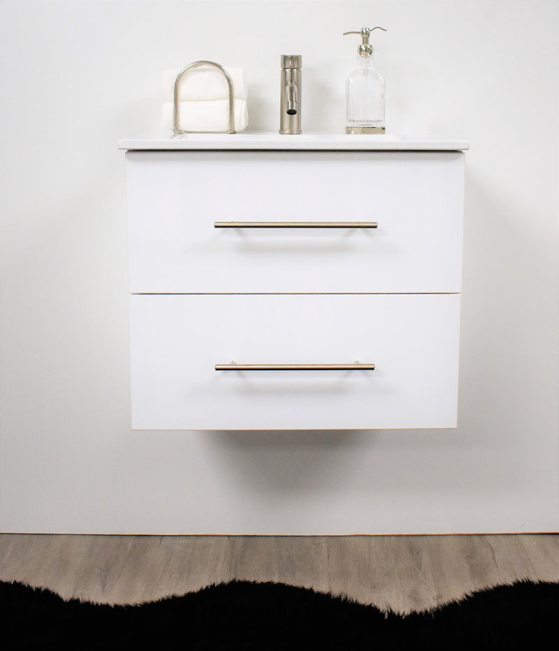 "Napa 24"" Modern Wall-Mounted Floating Bathroom Vanity in Glossy White with Ceramic Top and Round Handles"