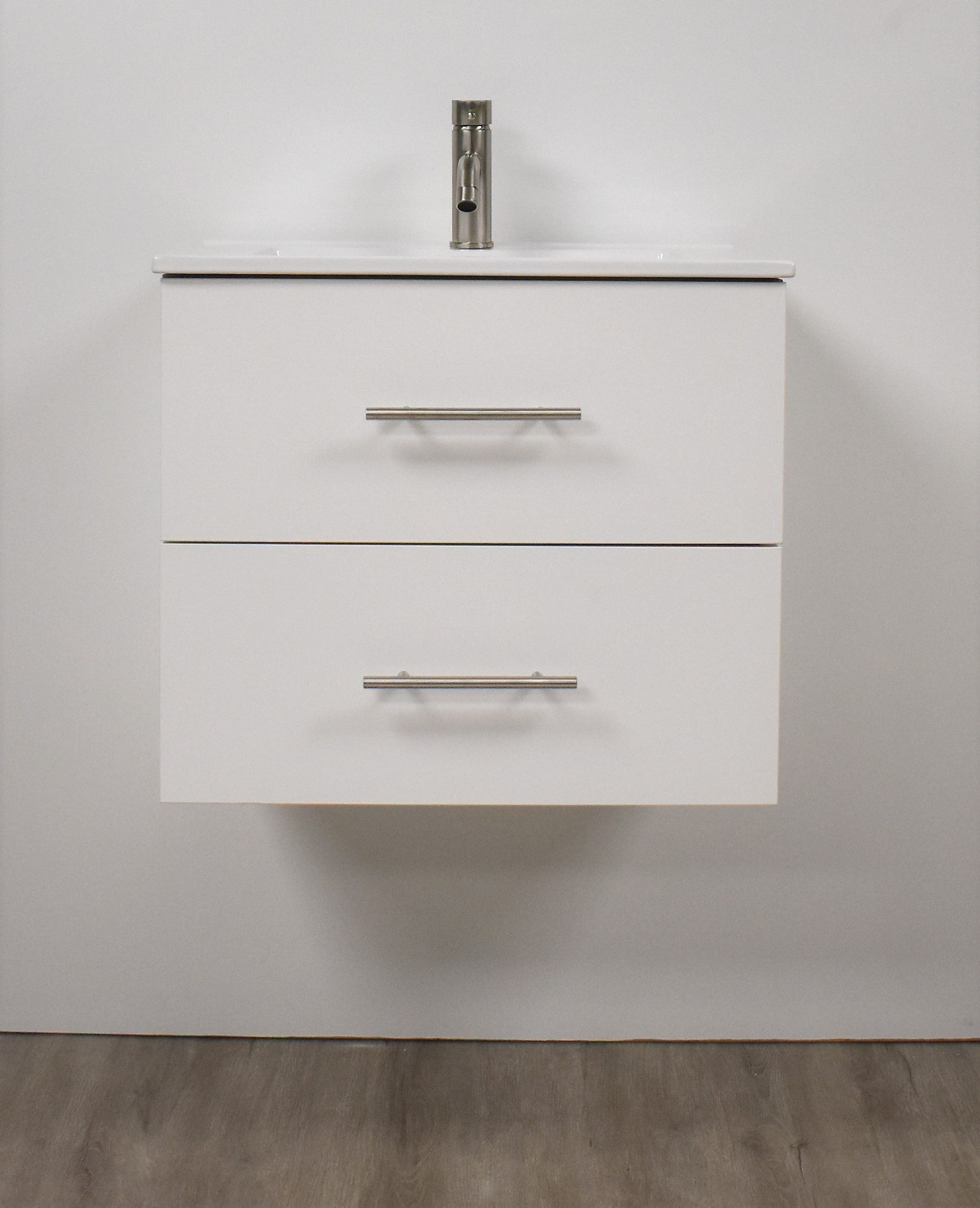 "Napa 24"" Modern Wall-Mounted Floating Bathroom Vanity with Ceramic Top and Round Handles in White"