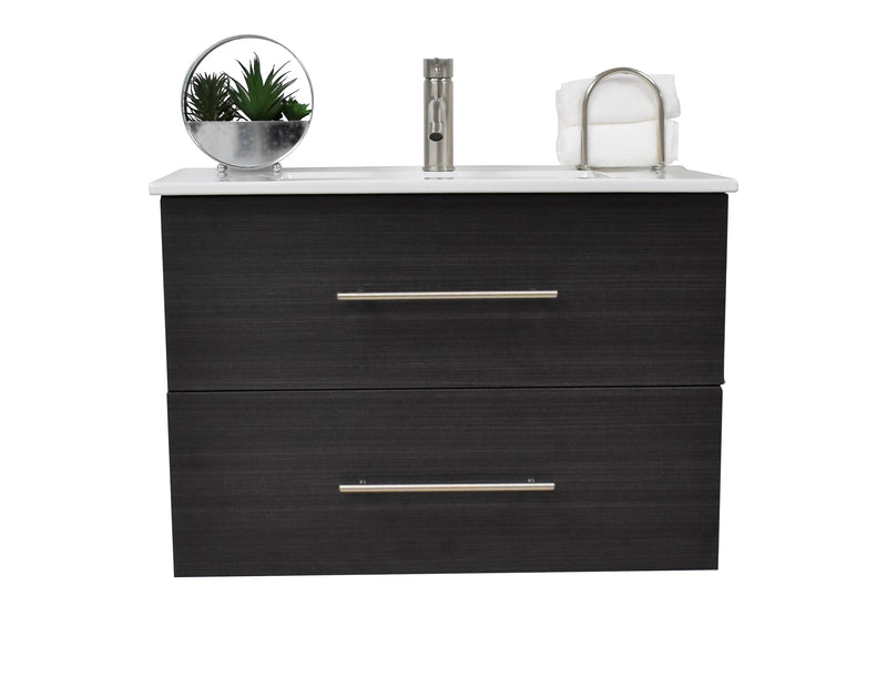 "Napa 30"" Modern Wall-Mounted Floating Bathroom Vanity with Ceramic Top and Round Handles in Black Ash"
