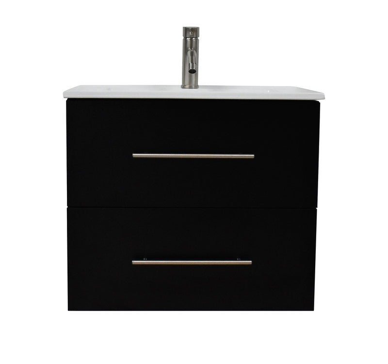 "Napa 24"" Modern Wall-Mounted Floating Bathroom Vanity with Ceramic Top and Round Handles in Black"