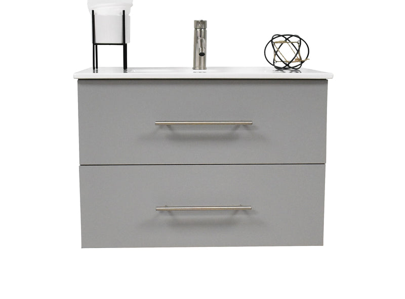 "Napa 24"" Modern Wall-Mounted Floating Bathroom Vanity with Ceramic Top and Round Handles in Grey"