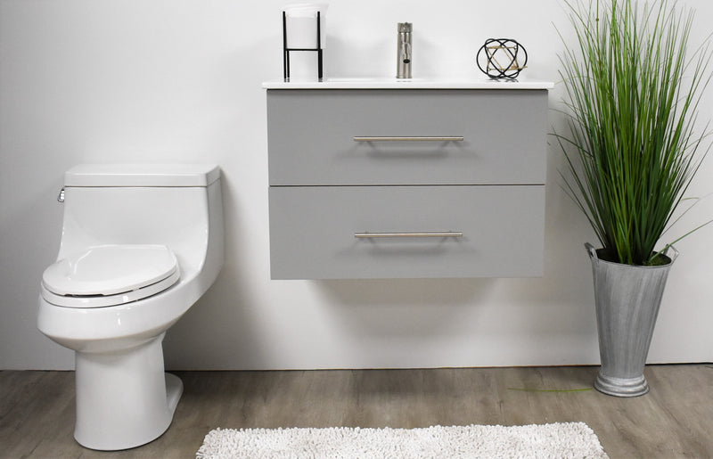 "Napa 30"" Modern Wall-Mounted Floating Bathroom Vanity with Ceramic Top and Round Handles in Grey"