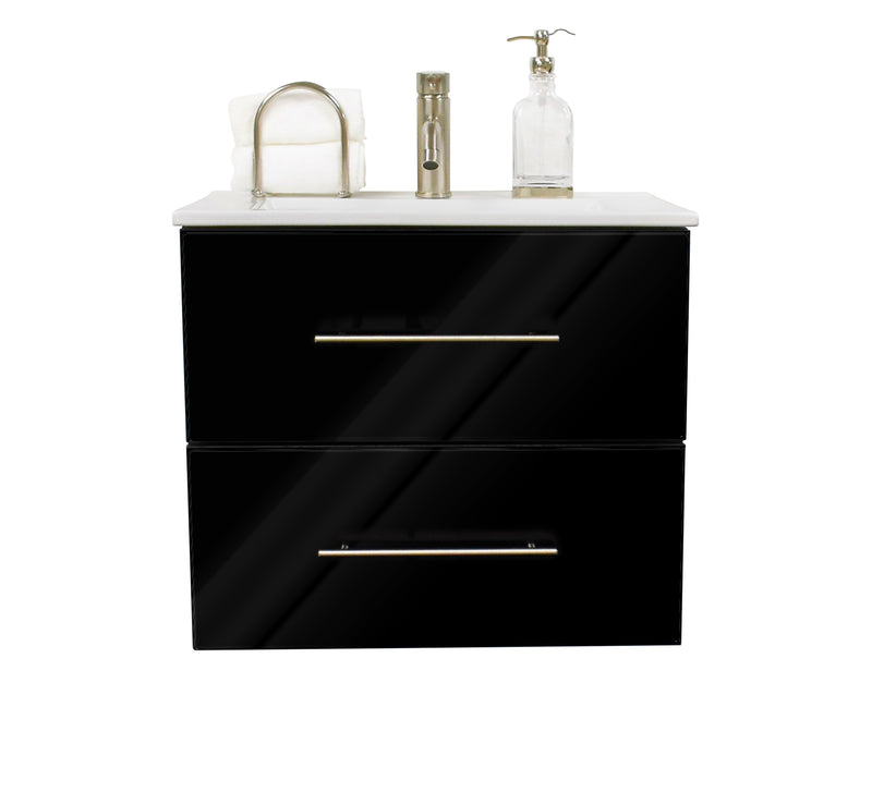 "Napa 30"" Modern Wall-Mounted Floating Bathroom Vanity in Glossy Black with Ceramic Top and Round Handles"