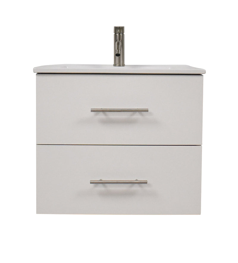 "Napa 30"" Modern Wall-Mounted Floating Bathroom Vanity with Ceramic Top and Round Handles in White"