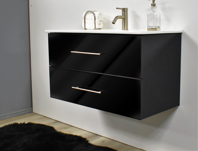 "Napa 36"" Modern Wall-Mounted Floating Bathroom Vanity in Glossy Black with Ceramic Top and Round Handles"