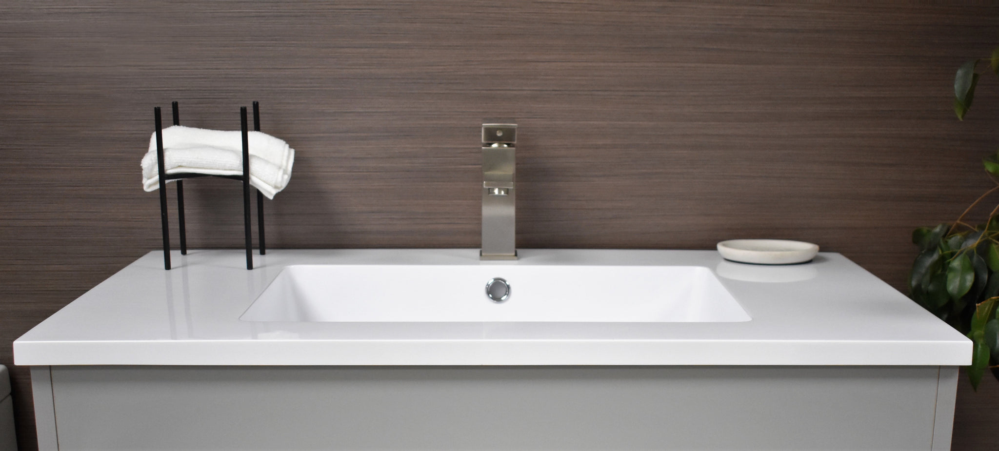 "Rio 36"" Modern Bathroom Vanity in Grey with Acrylic Top and Brushed Nickel Handles"