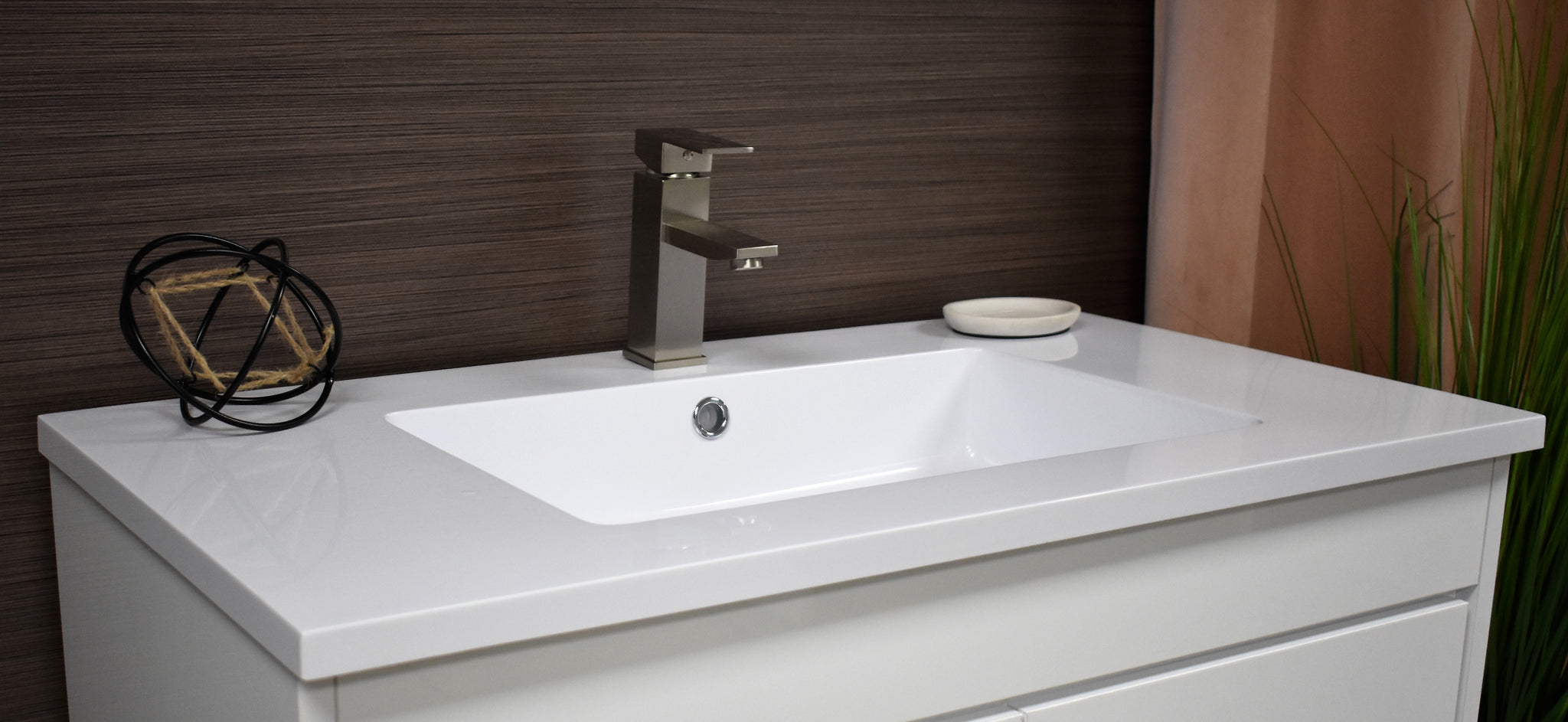 "Rio 36"" Modern Bathroom Vanity in White with Acrylic Top and Brushed Nickel Handles"