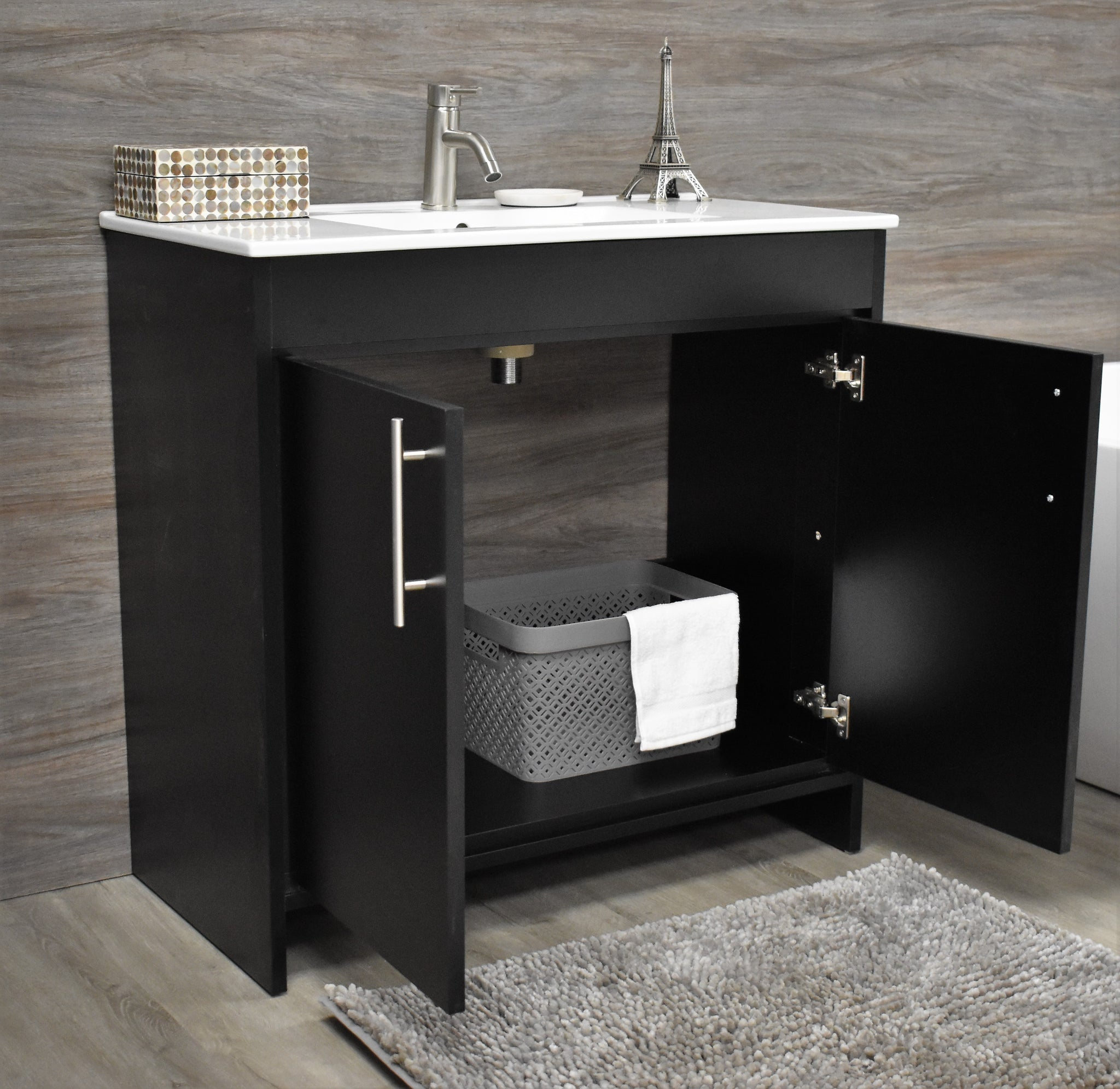 "Villa 36"" Modern Bathroom Vanity in Black with Integrated Ceramic Top and Brushed Nickel Round Handles"