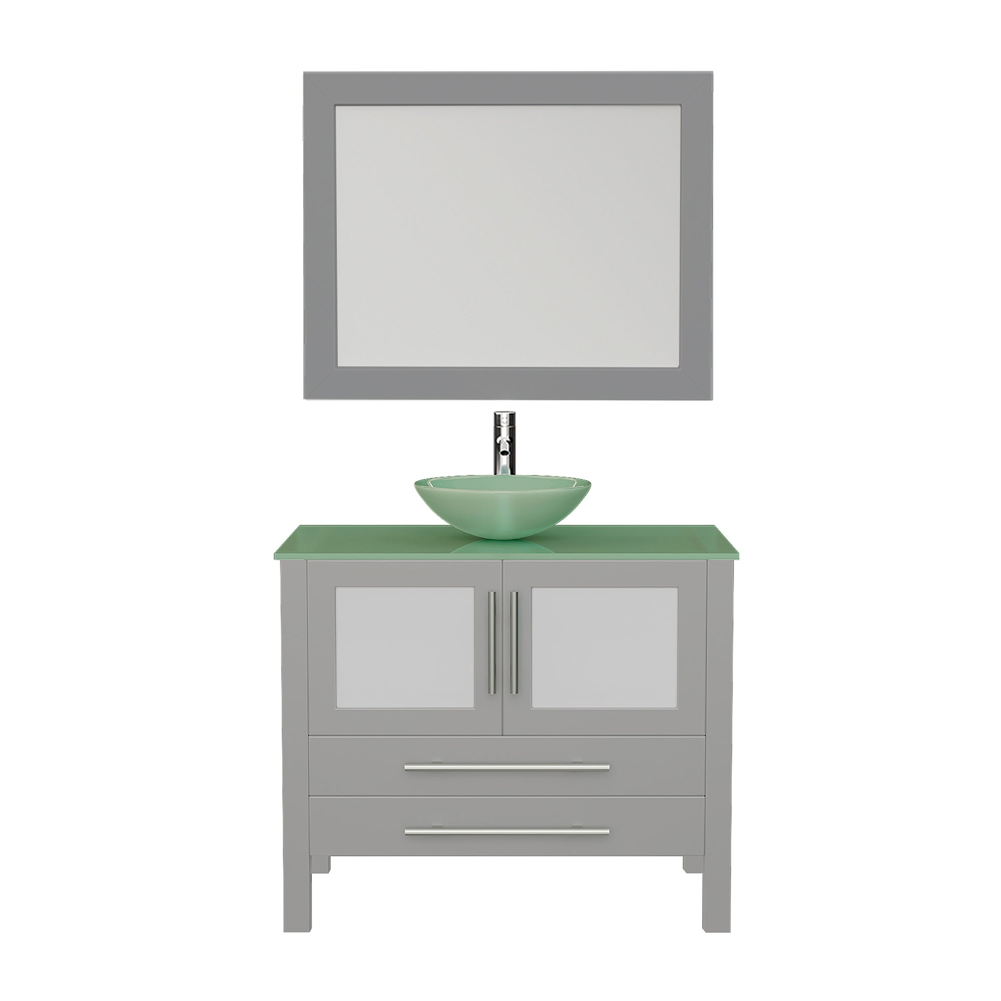 "Complete 36"" Gray Vanity Set with Polished Chrome Plumbing"