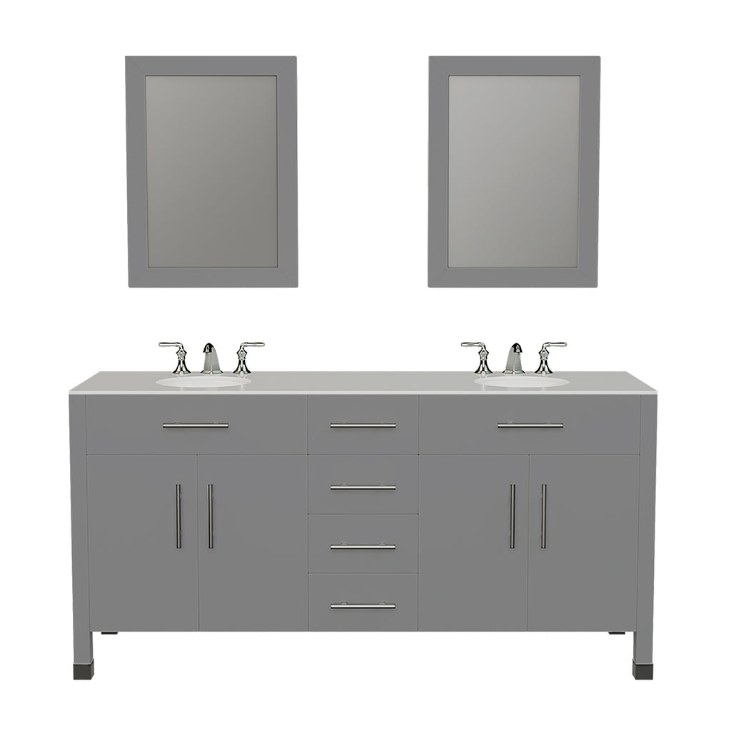 "72"" Gray Solid Wood and Porcelain Double Vanity Set"