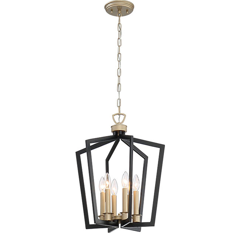 6 - Light Lantern Geometric Pendant, Black and Brass Dust