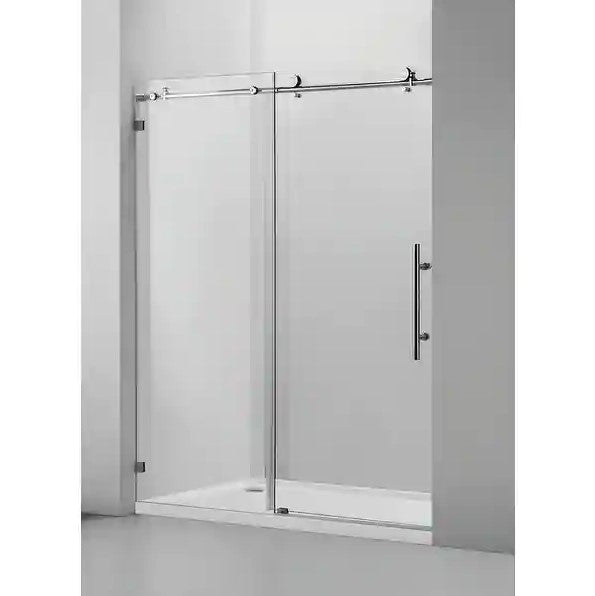 "60"" W X 76"" H Single Sliding Frameless Shower Door Brushed Nickel"