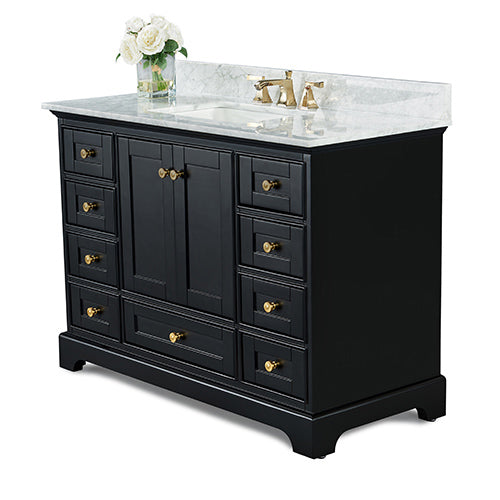 Audrey 48 in. Bath Vanity Set in Onyx Black with 28 in. Mirror