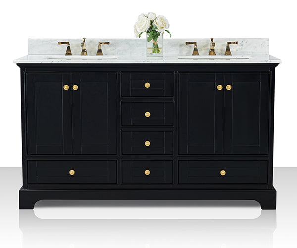 Audrey 60 in. Bath Vanity Set in Onyx Black with 24 in. Mirrors