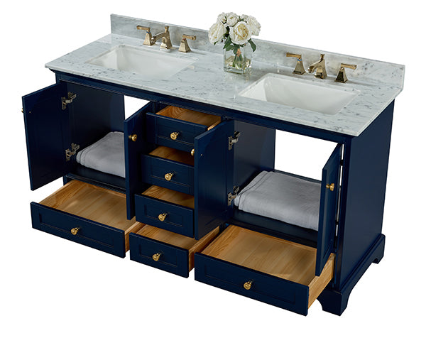 Audrey 60 in. Bath Vanity Set in Heritage Blue with 24 in. Mirrors