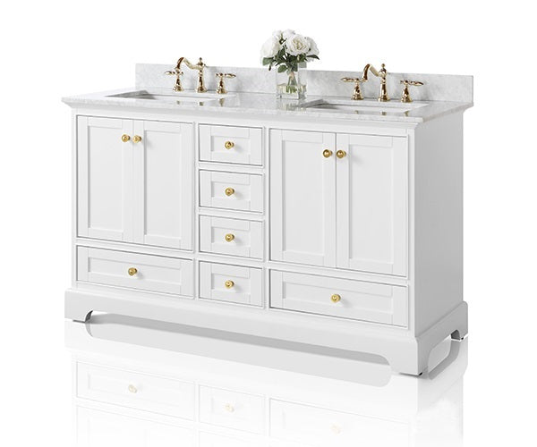 Audrey 60 in. Bath Vanity Set in White with 24 in. Mirrors
