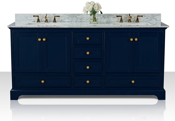 Audrey 72 in. Bath Vanity Set in Heritage Blue with 24 in. Mirrors