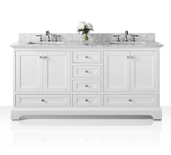 Audrey 72 in. Bath Vanity Set in White with 24 in. Mirror