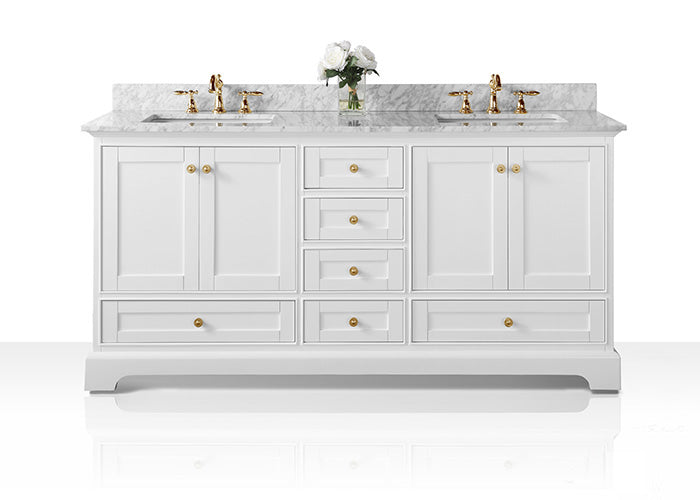 Audrey 72 in. Bath Vanity Set in White with 24 in. Mirrors