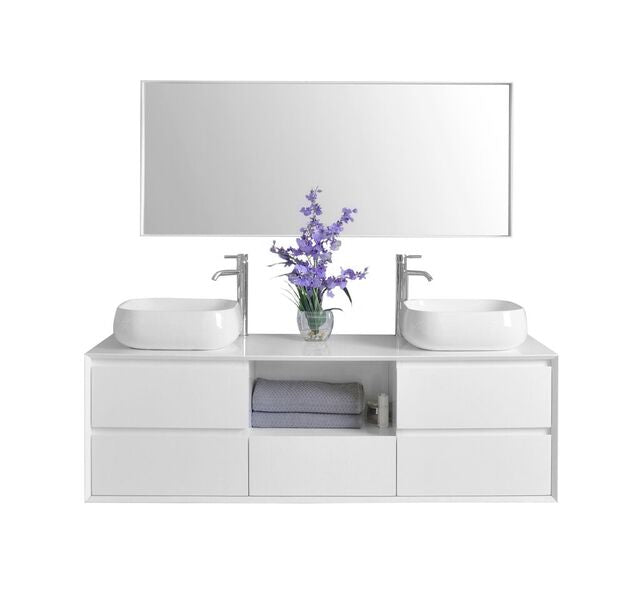Catherine 63 in. Bath Vanity Set in White