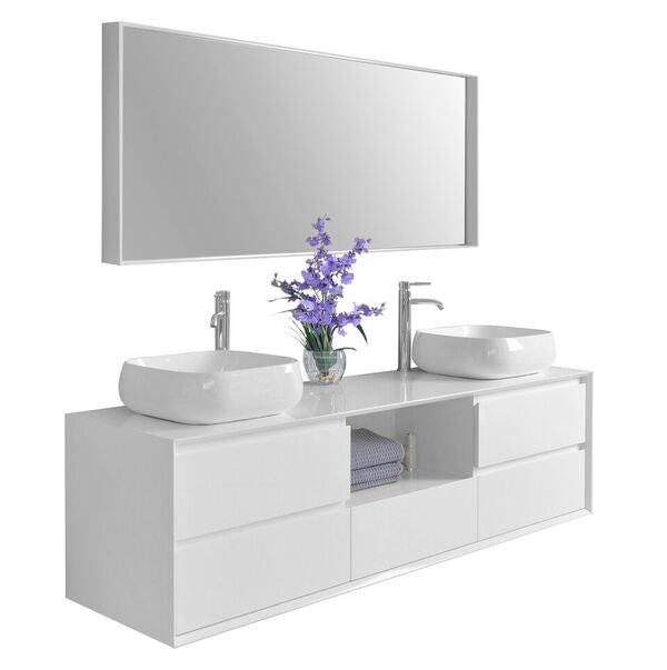 Catherine 72 in. Bath Vanity Set in White