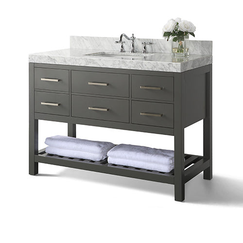 Elizabeth 48 in. Bath Vanity Set in Sapphire Gray with 28 in. Mirror