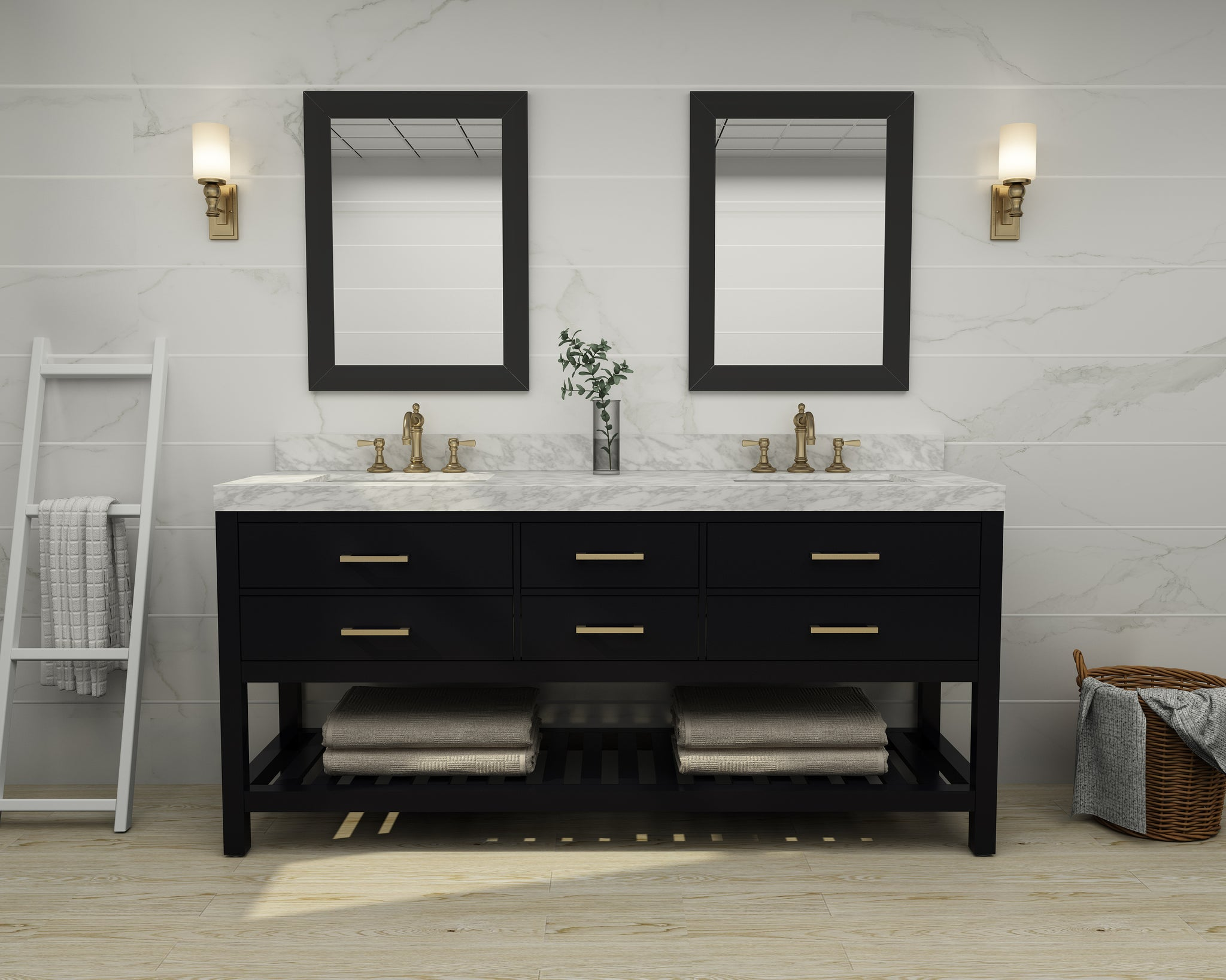 Elizabeth 72 in. Bath Vanity Set in Black Onyx with 24 in. Mirrors