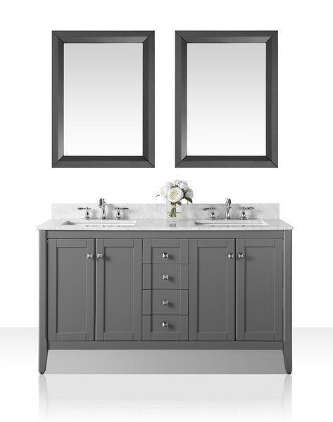 Shelton 60 in. Bath Vanity Set in Sapphire Gray with 24 in. Mirrors