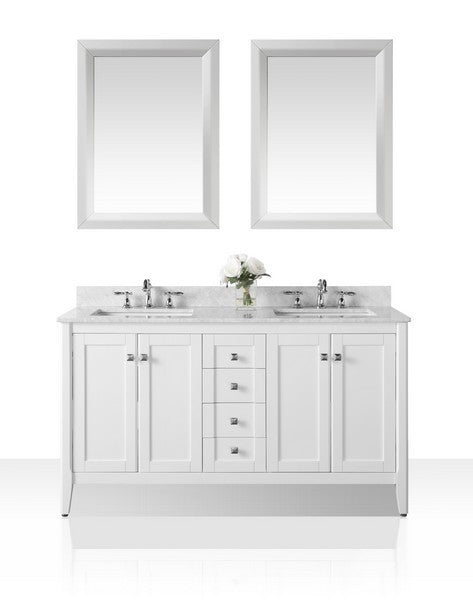 Shelton 60 in. Bath Vanity Set in White with 24 in. Mirrors