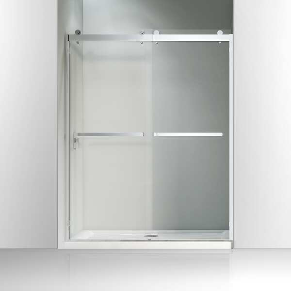 "60"" W X 76"" H Bypass Frameless Shower Door Brushed Nickel"