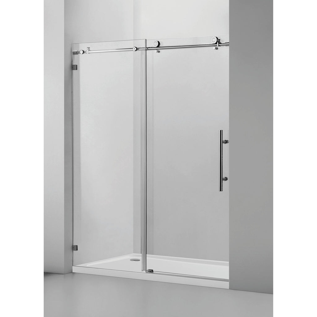 "60"" W X 76"" H Single Sliding Frameless Shower Door Chrome"