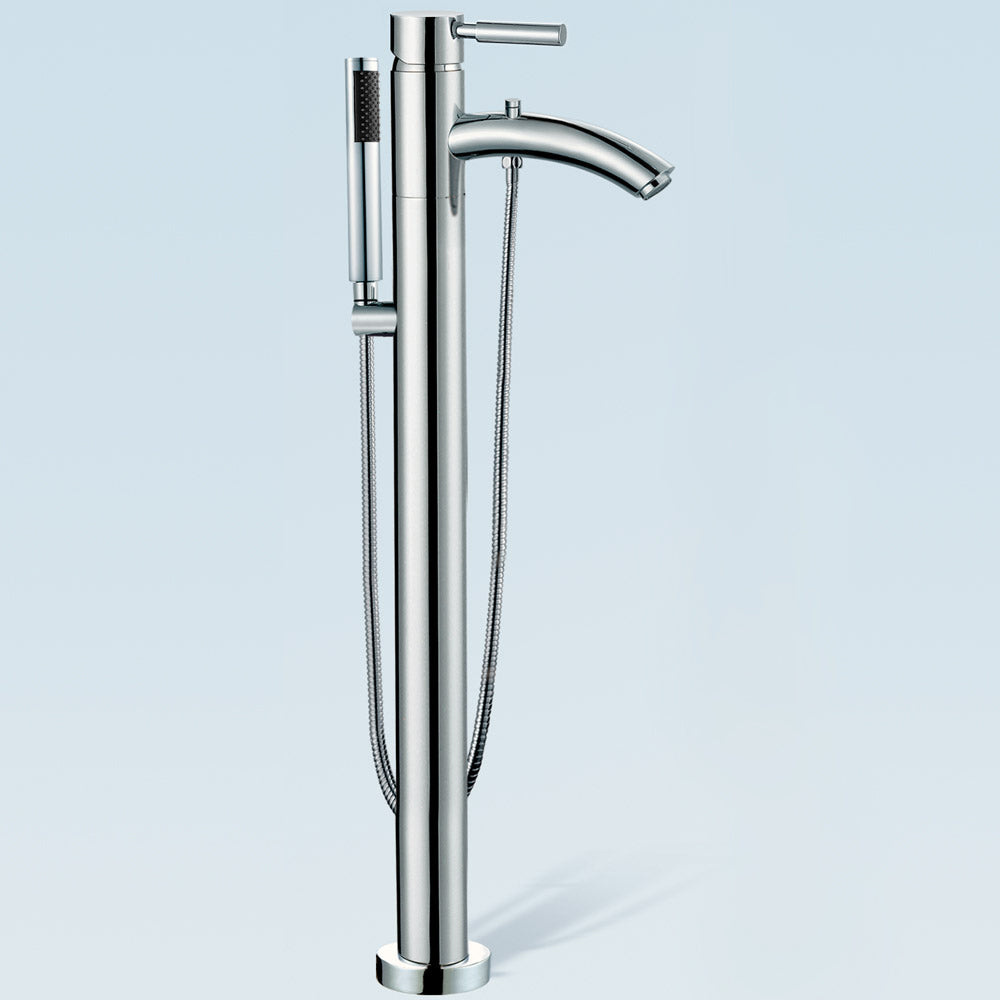 Taron Modern-Style Bathroom Tub Filler (Floor-mounted) in Polished Chrome