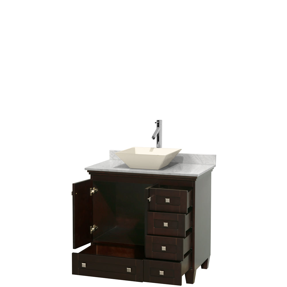 Acclaim 36 Inch Single Bathroom Vanity in Espresso, White Carrara Marble Countertop, Pyra Bone Porcelain Sink, and No Mirror