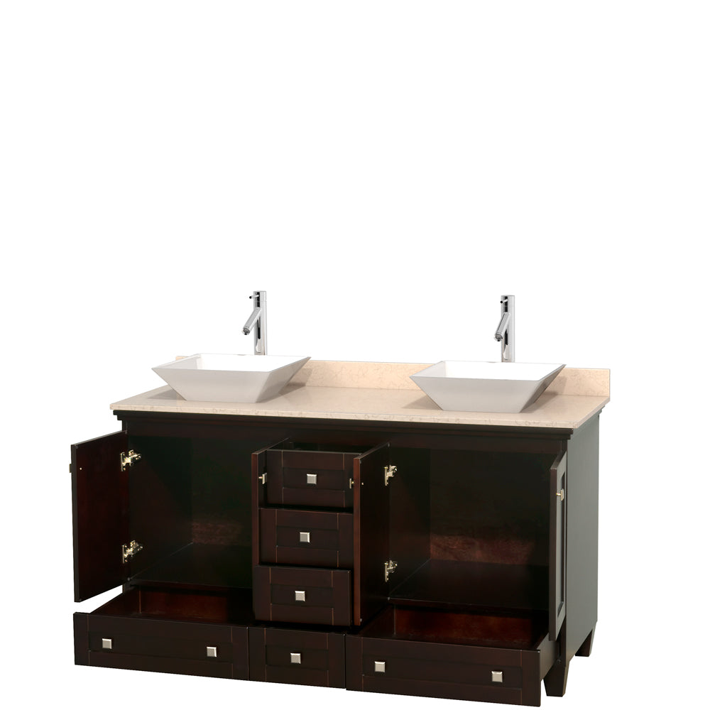 Acclaim 60 Inch Double Bathroom Vanity in Espresso, Ivory Marble Countertop, Pyra White Sinks, and No Mirrors