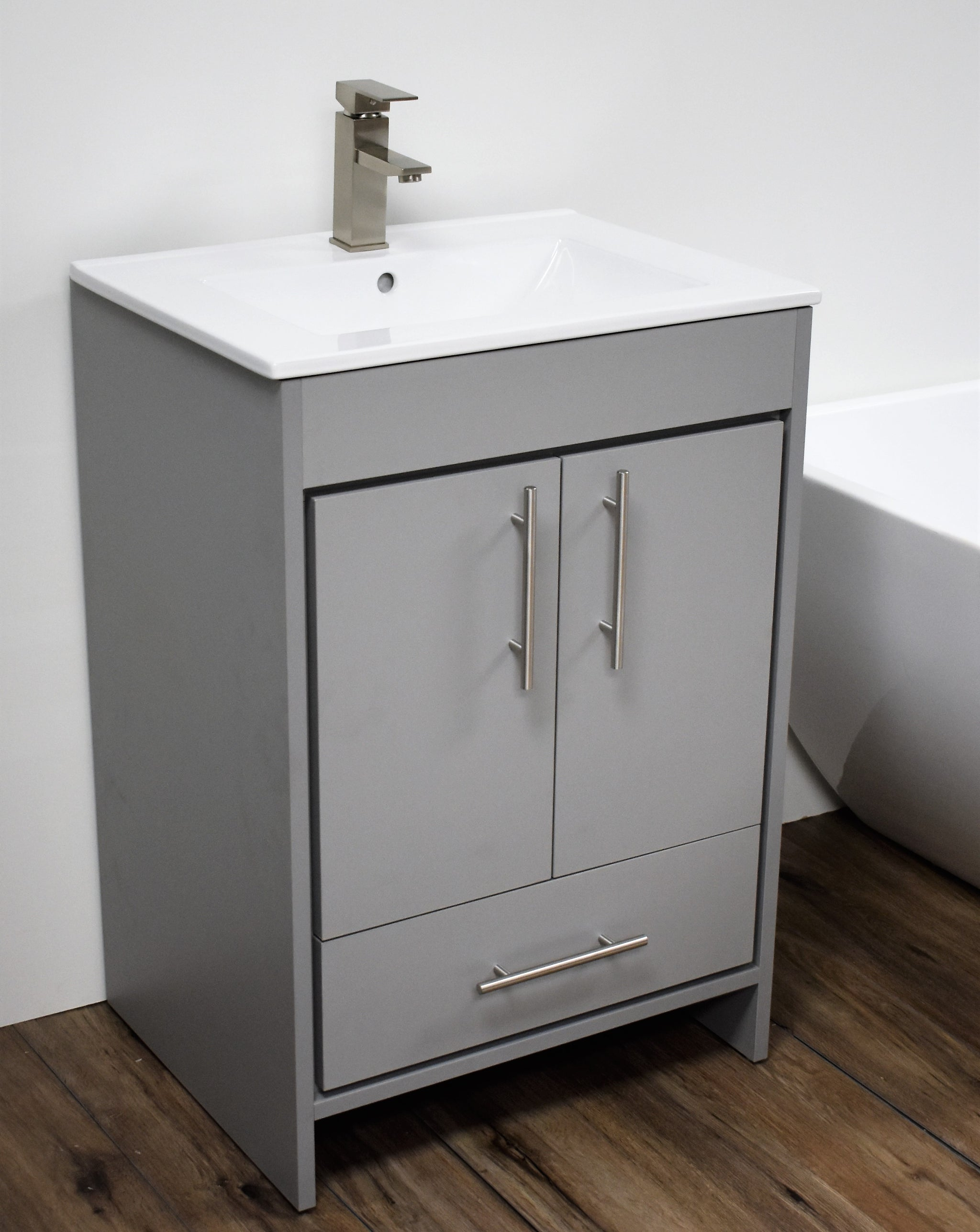 "Pacific 24"" Modern Bathroom Vanity in Grey with Integrated Ceramic Top and Brushed Nickel Round Handles"
