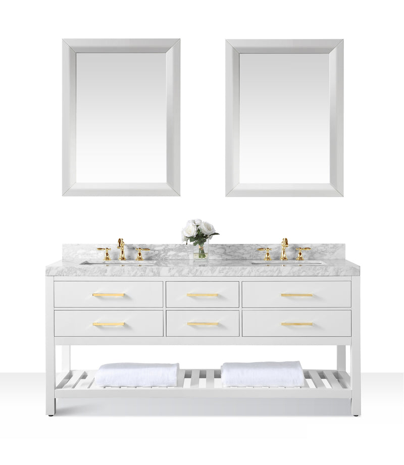 Elizabeth 72 in. Bath Vanity Set in White with 24 in. Mirrors