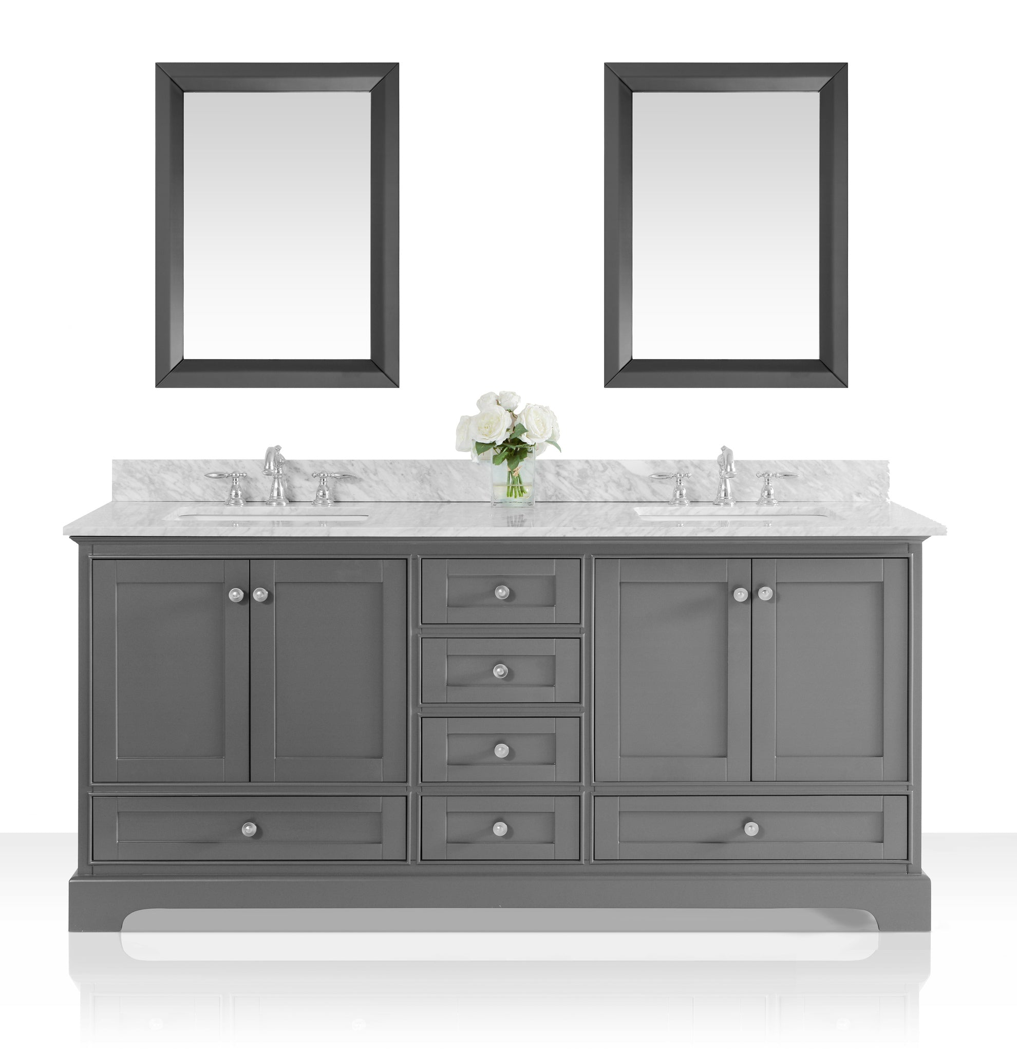 Audrey 72 in. Bath Vanity Set in Sapphire Gray with 24 in. Mirror