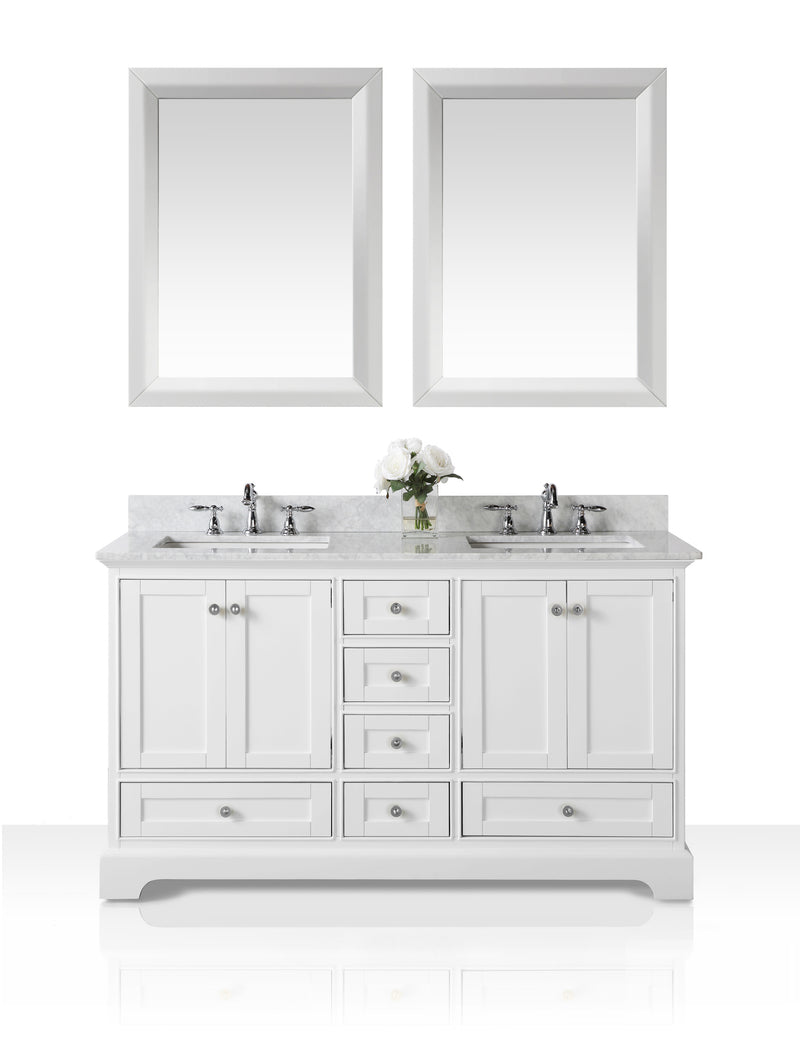 Audrey 60 in. Bath Vanity Set in White with 24 in. Mirror
