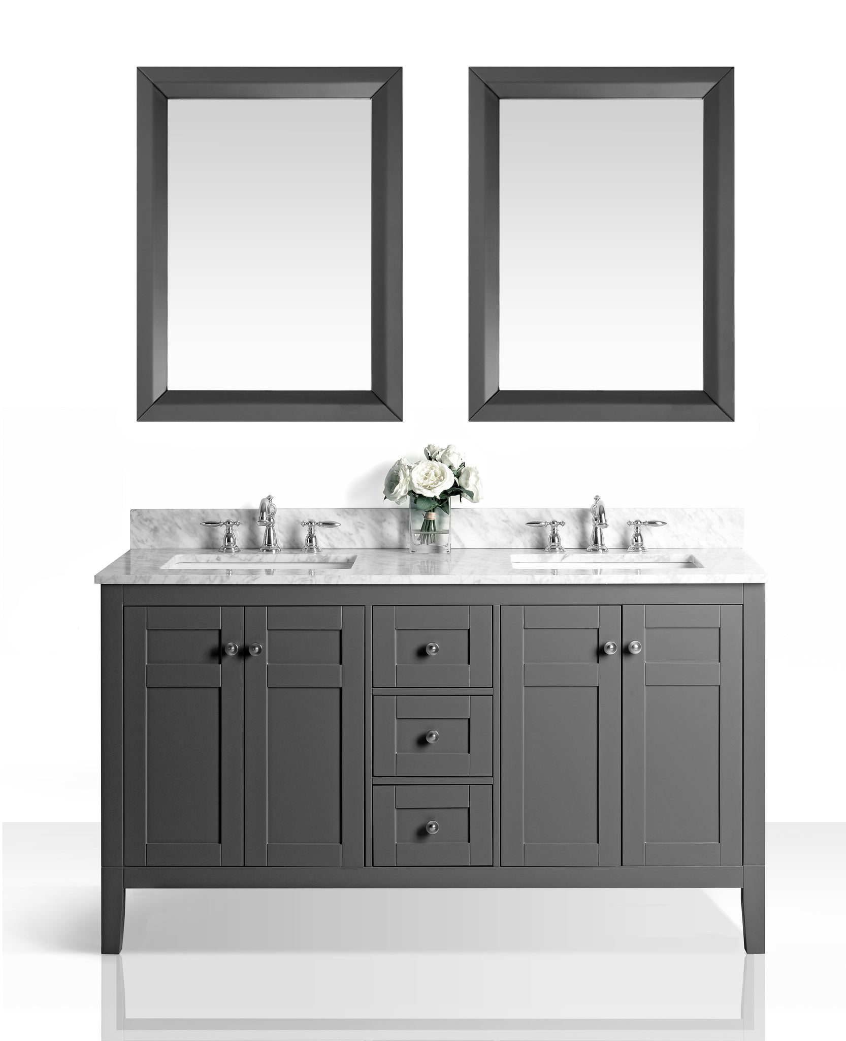 Maili 60 in. Bath Vanity Set in Sapphire Gray with 24 in. Mirror