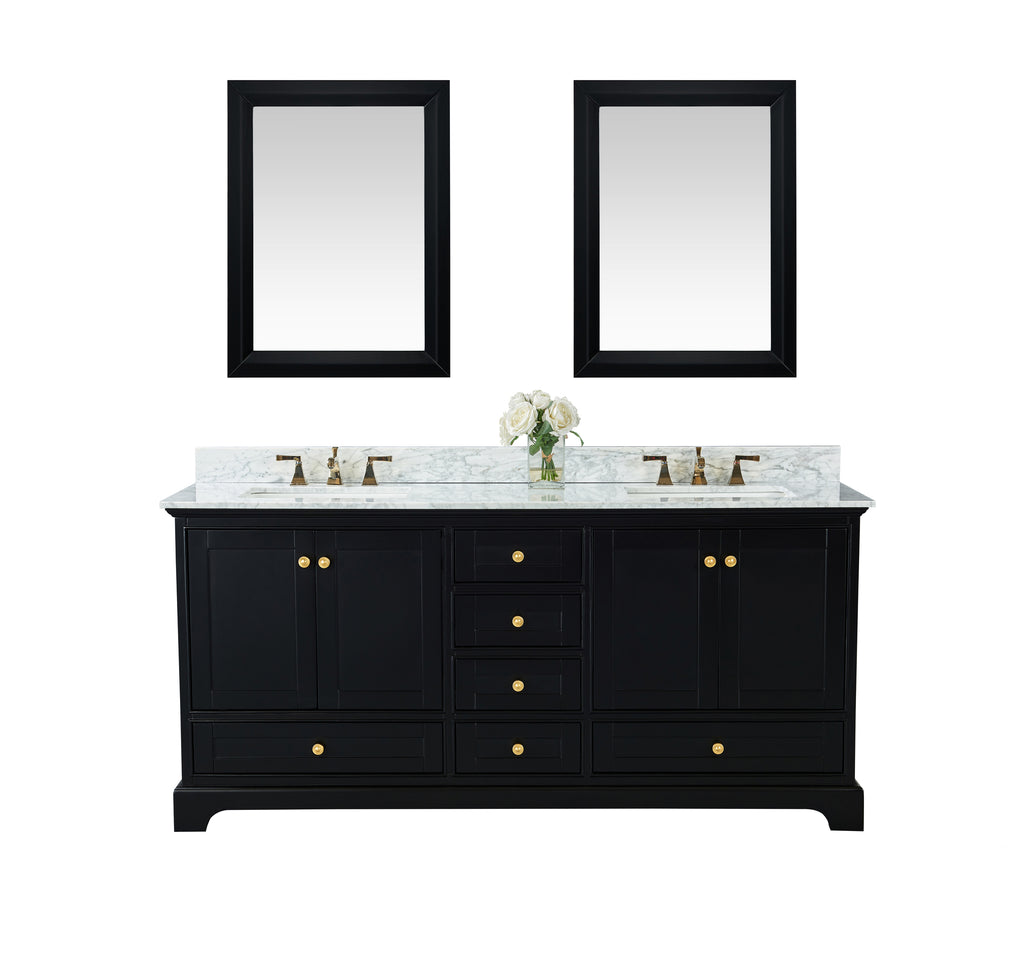 Audrey 72 in. Bath Vanity Set in Onyx Black with 24 in. Mirrors