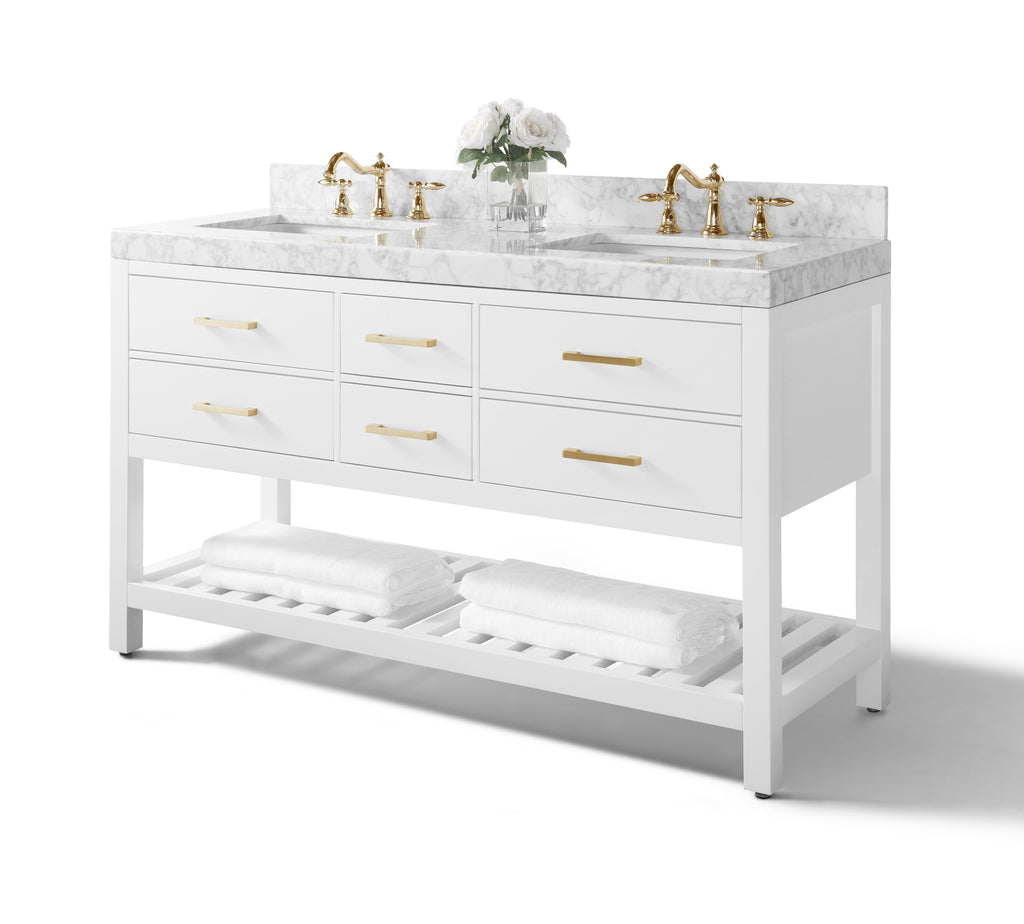 Elizabeth 60 in. Bath Vanity Set in White